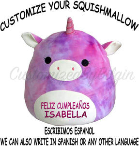 "Squishmallow Customized Original Kellytoy Tie Dye Rainbow Unicorn 8"" Create Your Own Super Soft Plush Toy Stuffed Animal Pet Pillow Christmas,Birthday Gift"