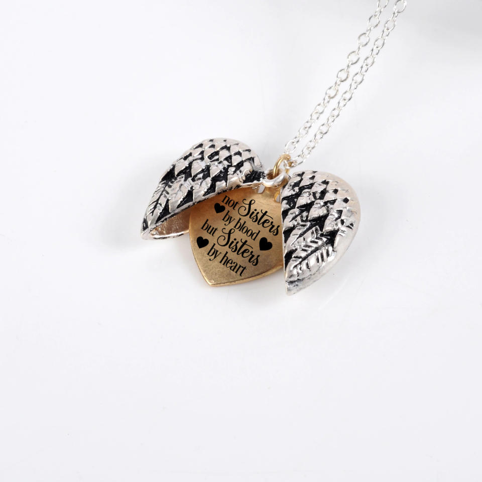 """NOT SISTERS BY BLOOD BUT SISTERS BY HEART""- ANGEL HEART NECKLACE"