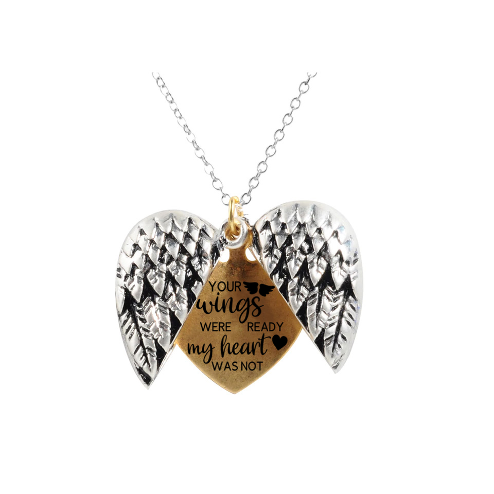 """YOUR WINGS WERE READY BUT MY HEART WAS NOT""- ANGEL HEART NECKLACE"