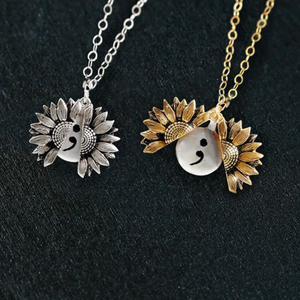 """Your Story Isn't Over Yet"" SEMICOLON- SUNFLOWER NECKLACE + FREE GIFT BOX"