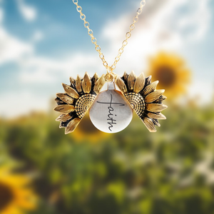 """FAITH""- SUNFLOWER NECKLACE + FREE GIFT BOX"