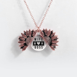 """WIFE MOM BOSS""- SUNFLOWER NECKLACE + FREE GIFT BOX"