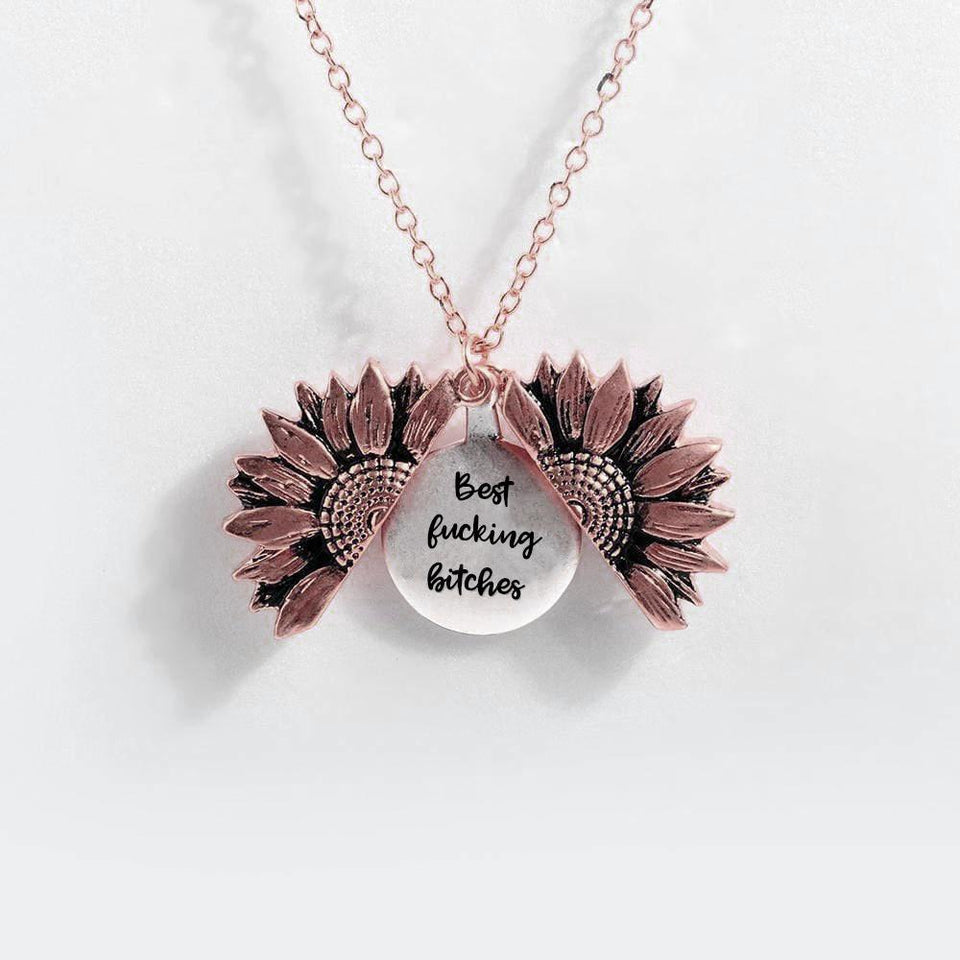 """BEST FUCKING BITCHES""- SUNFLOWER NECKLACE + FREE GIFT BOX"