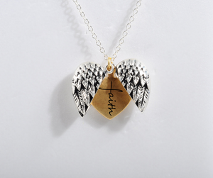 """FAITH""- ANGEL HEART NECKLACE"