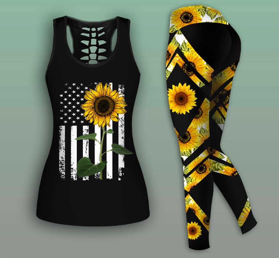Combo Sunflower Tank Top And Legging