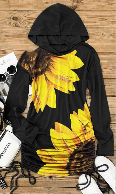 Sunflower Ruched Shoulder Cut Out Hoodie Dress