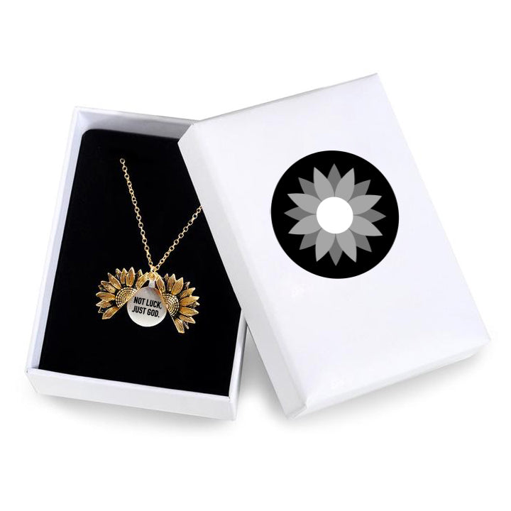 """NOT LUCK JUST GOD""- SUNFLOWER NECKLACE + FREE GIFT BOX"