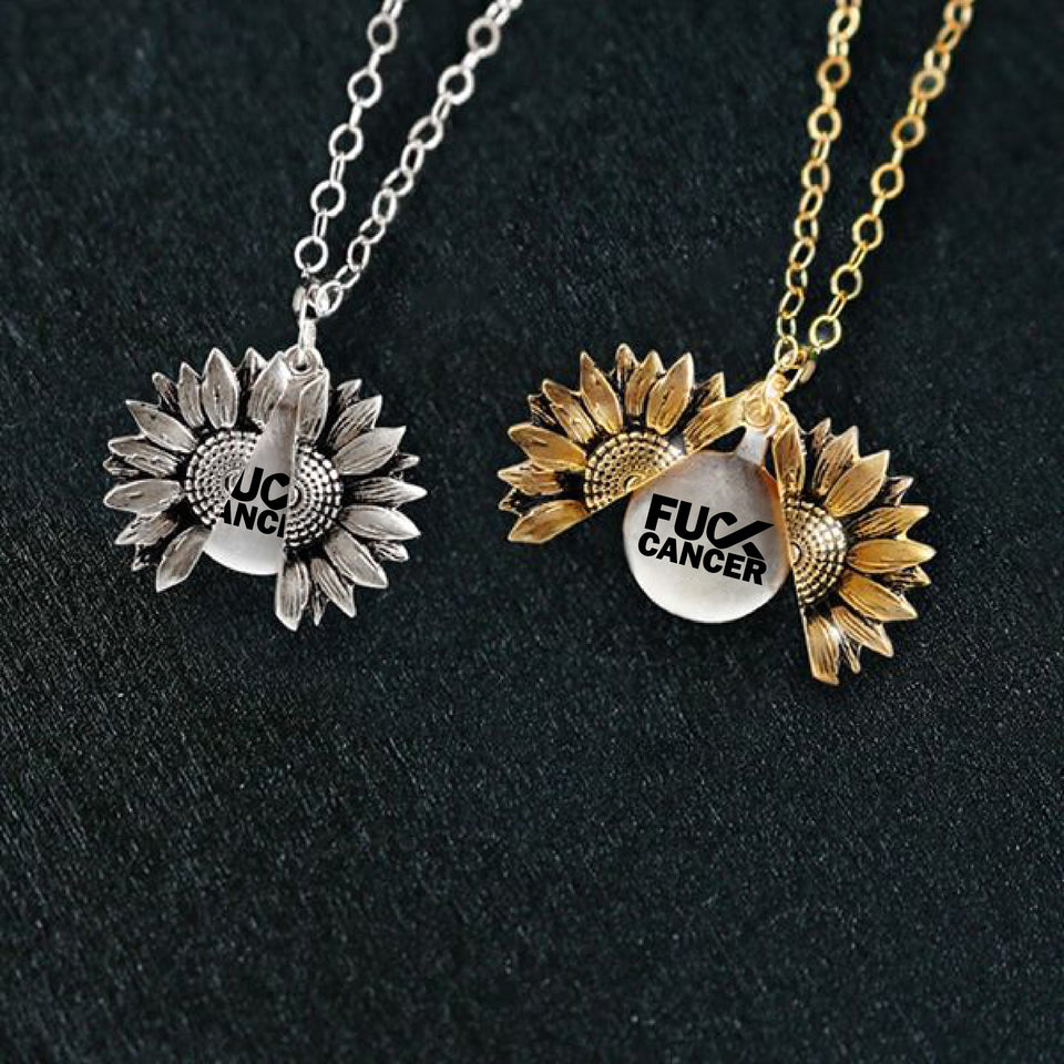 """F**K CANCER""- SUNFLOWER NECKLACE + FREE GIFT BOX"