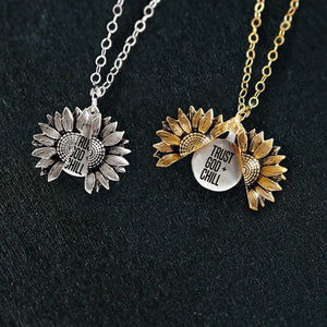 """TRUST GOD + CHILL""- SUNFLOWER NECKLACE + FREE GIFT BOX"