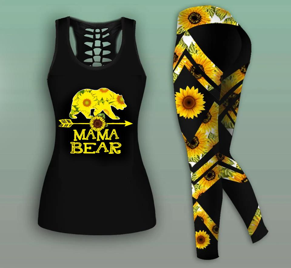 Mama Bear Combo Sunflower Tank Top And Legging