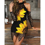 Sunflower Eyelash Lace Cutout Shoulder Bodycon Dress