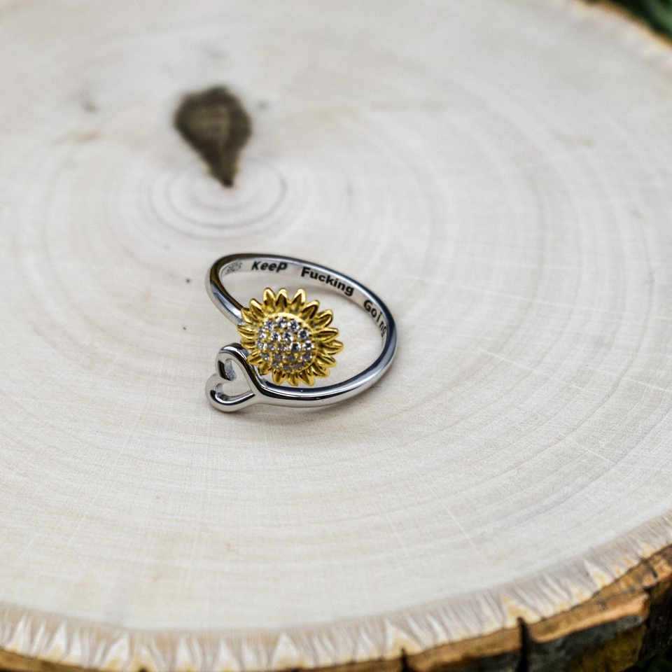 """KEEP F*G GOING""- SUNFLOWER ADJUSTABLE RING S925"