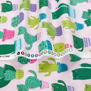 Timeless Treasures - Cactus Cats - Pink - 1/2 YARD CUT
