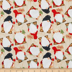 Henry Glass & Co - Timber Gnomies - Beige - 1/2 YARD CUT