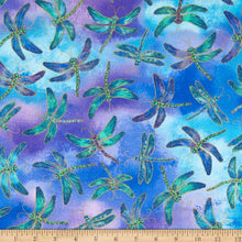 Load image into Gallery viewer, Timeless Treasures - Purple Dragonflies w/ Metallic - 1/2 YARD CUT