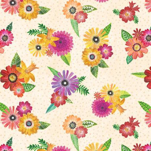 Wilmington Prints - Cream Floral Bouquets - 1/2 YARD CUT