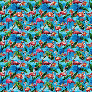 Paintbrush Studio - Fabulous Flamingos - Blue - 1/2 YARD CUT