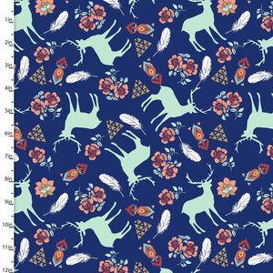 3 Wishes - Pachua - Navy Main - 1/2 YARD CUT