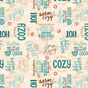 Wilmington Prints - Cuppa Cocoa - Cream Word Toss - 1/2 YARD CUT