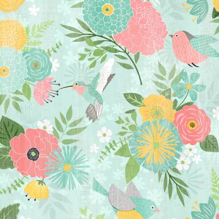 Wilmington Prints - Keep Shining Bright - Large Allover Floral - Aqua (68509) - 1/2 YARD CUT