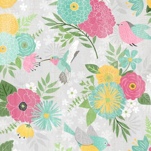 Wilmington Prints - Keep Shining Bright - Large Allover Floral - Grey (68509) - 1/2 YARD CUT