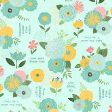 Load image into Gallery viewer, Wilmington Prints - Keep Shining Bright - Florals and Sentiments - Aqua (68512) - 1/2 YARD CUT