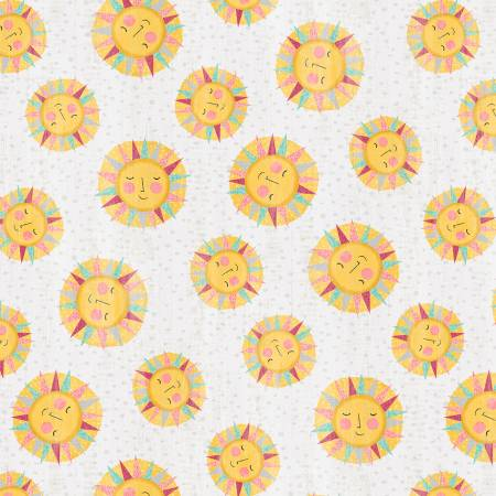 Wilmington Prints - Keep Shining Bright - Sun Toss - Grey - 1/2 YARD CUT