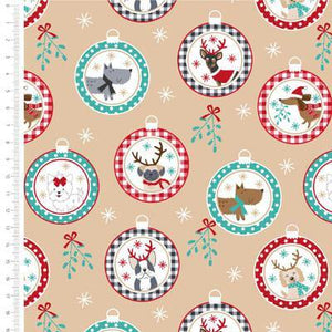 Craft Cotton Company - Freddie & Friends - Dogs Baubles - 1/2 YARD CUT