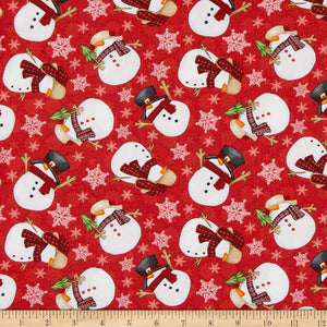 Henry Glass & Co - Timber Gnomies - Red Tossed Snowmen - 1/2 YARD CUT