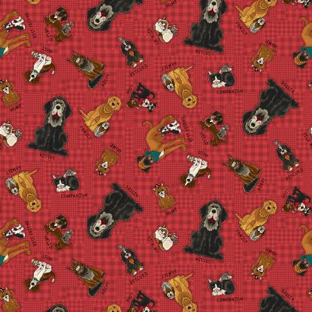 Henry Glass & Co - Rescued and Loved - Red Tossed Characters - 1/2 YARD CUT