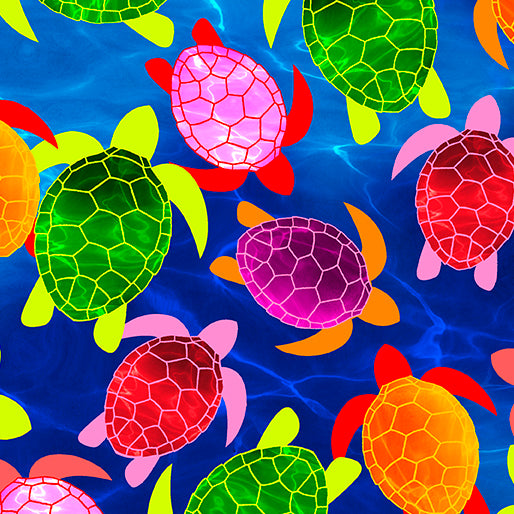 Kanvas - Watercolor Turtles - Blue - 1/2 YARD CUT