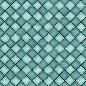 Maywood Studio - Happiness is Homemade - Checkers Turquoise- 1/2 YARD CUT