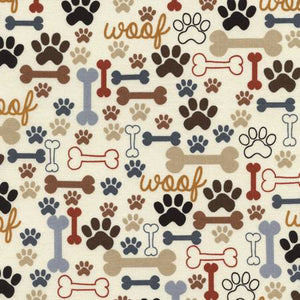 Timeless Treasures - Cream Dogs Bones & Paws - 1/2 YARD CUT