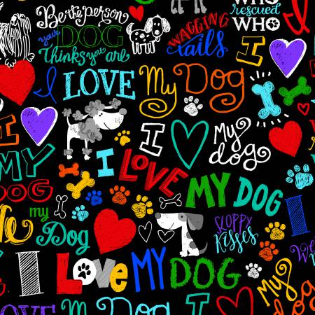 Timeless Treasures - I Love My Dog - Black - 1/2 YARD CUT