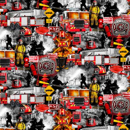 Timeless Treasures - Fire and Rescue - Black - 1/2 YARD CUT