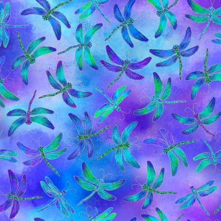 Timeless Treasures - Purple Dragonflies w/ Metallic - 1/2 YARD CUT