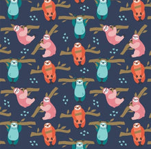 Load image into Gallery viewer, Camelot - Born to be Mild - Navy Small Sloths - 1/2 YARD CUT