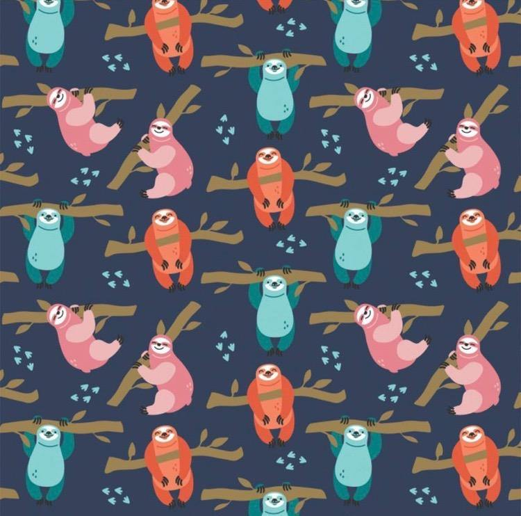 Camelot - Born to be Mild - Navy Small Sloths - 1/2 YARD CUT