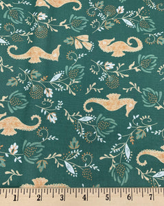 Camelot - Seahorse - Deep Olive - 1/2 YARD CUT