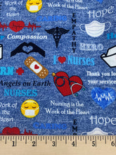 Load image into Gallery viewer, Sykel Enterprises - Nurse Hero - Allover/Denim Blue - 1/2 YARD CUT