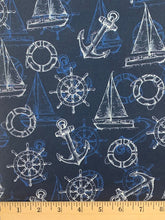 Load image into Gallery viewer, Oasis Fabrics - Anchors and Sailboats - Blue - 1/2 YARD CUT