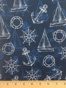 Oasis Fabrics - Anchors and Sailboats - Blue - 1/2 YARD CUT