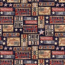 Load image into Gallery viewer, Timeless Treasures - Patriotic Rustic Signs - Navy - 1/2 YARD CUT