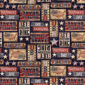 Timeless Treasures - Patriotic Rustic Signs - Navy - 1/2 YARD CUT