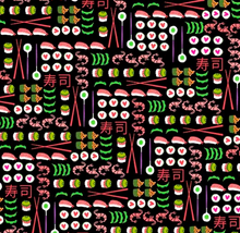 Load image into Gallery viewer, Michael Miller - I Love Sushi - Black - 1/2 YARD CUT