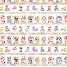 Load image into Gallery viewer, P&B Textiles - Little Darlings - Multi Animal Stripe - 1/2 YARD CUT