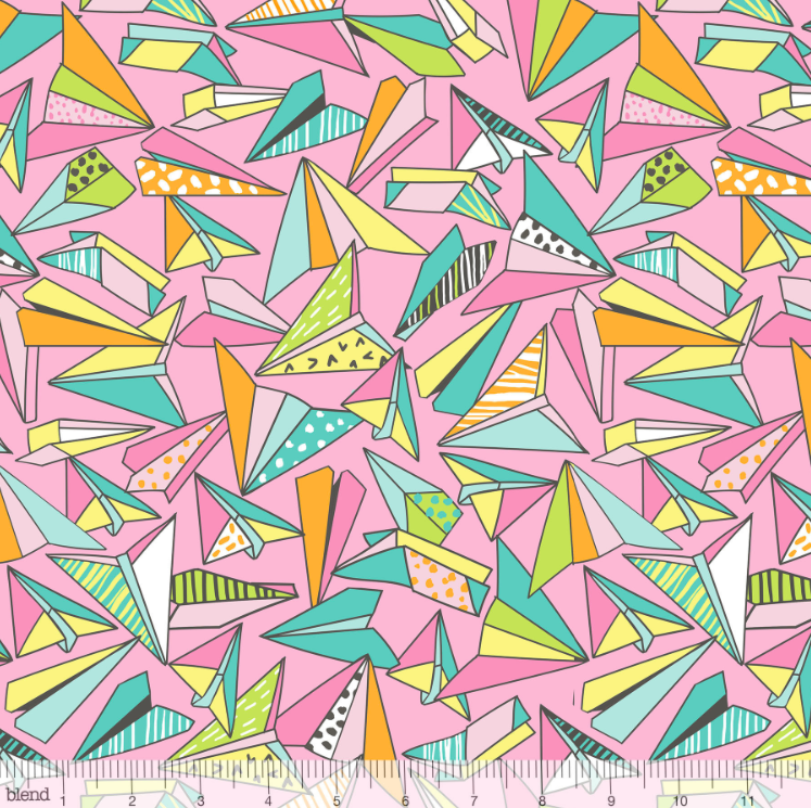 Blend Fabrics - Pen & Paper - Paper Planes Pink - 1/2 YARD CUT - Dreaming of the Sea Fabrics