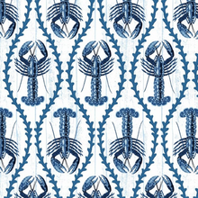 Load image into Gallery viewer, Studio E - Indigo Coastal Lobsters- 1/2 YARD CUT