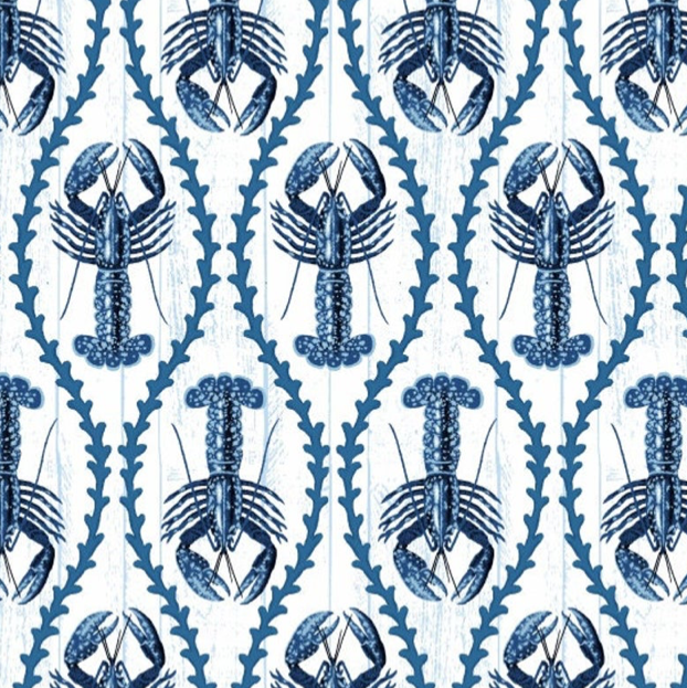 Studio E - Indigo Coastal Lobsters- 1/2 YARD CUT
