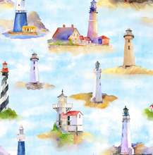 Load image into Gallery viewer, 3 Wishes Fabric - At the Shore - Lighthouses - 1/2 YARD CUT